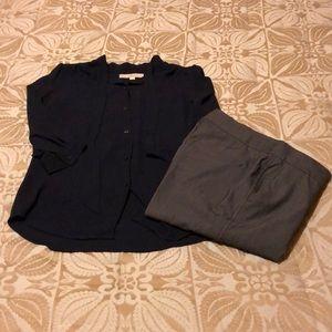 LOFT 3/4 sleeve tie neck navy blouse XS